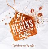 海报咖啡斑点标签 免版税库存图片