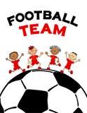海报哄骗soccerball的儿童男孩 与文本橄榄球字法的平的传染媒介例证 免版税库存照片