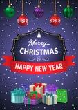 海报圣诞快乐和新年快乐 题字 库存例证
