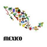 海报墨西哥地图 库存图片