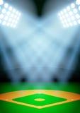 海报夜棒球场的背景 免版税库存图片