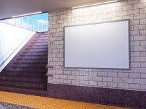 海报媒介模板广告显示的嘲笑在地铁站自动扶梯 截去容易的编辑文件例证的3d包括了路径翻译 免版税库存图片