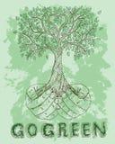 海报用拿着树的人的手 免版税图库摄影