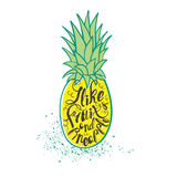 海报用菠萝 手拉的字法 库存图片
