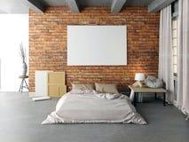 海报的嘲笑在卧室内部 卧室行家样式 3d il 免版税库存图片