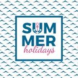 海报的暑假印刷术,横幅、飞行物、贺卡和其他季节性设计与船锚、框架和蓝色海挥动 皇族释放例证