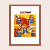 海报超级英雄在城市 免版税库存照片