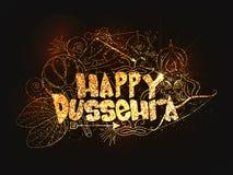 海报,与金黄文本愉快的Dussehra的横幅 图库摄影
