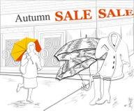 海报,横幅季节性衣物,在黑色的鞋子待售和 库存照片