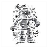 海报水彩机器人 免版税图库摄影