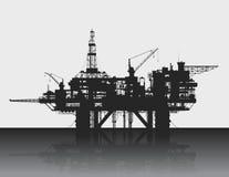 海抽油装置 石油平台在深海 免版税库存图片