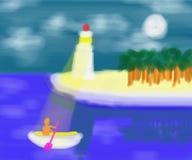 海摘要绘画的灯塔监护人 免版税库存照片