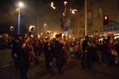 海斯廷斯篝火夜和游行2017年10月15日 图库摄影