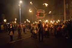 海斯廷斯篝火夜和游行2017年10月15日 库存图片