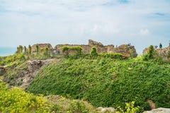 海斯廷斯废墟防御,东萨塞克斯郡,英国 图库摄影