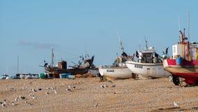 海斯廷斯,东部SUSSEX/UK - 11月06日:在B的渔船 库存照片
