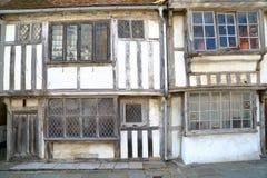 海斯廷斯,英国:16世纪用木材建造被构筑的和中世纪房子在海斯廷斯老镇 免版税库存图片