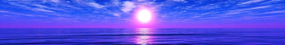 海日落的全景 库存图片