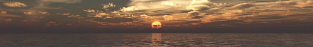 海日落,日出全景  Baner 点燃在海,海洋日落,在海的日出 图库摄影