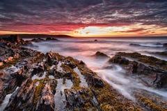 海日落,巴伦支海的海岸 库存图片