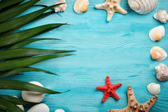 海星、海说谎在蓝色木背景的石头、棕榈叶和壳 有标签的一个地方 免版税库存照片