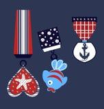 海星、鱼和船锚样式,孩子T恤杉印刷品 库存例证