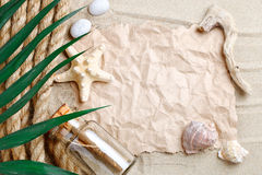 海星、贝壳、说谎在海沙的海石头和棕榈叶 有标签的一个地方 免版税库存图片