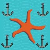 海星和船锚海上 库存例证
