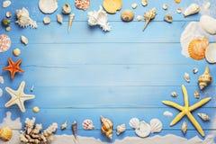 海星和贝壳在蓝色板条 免版税库存照片