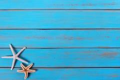 海星老被风化的热带蓝色海滩木甲板背景 免版税图库摄影