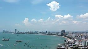 海景全景视图在芭达亚海湾,泰国的 股票录像