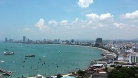海景全景视图在芭达亚海湾,泰国的 影视素材