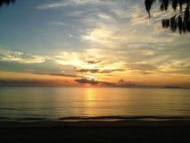 海景和棕榈树 免版税图库摄影