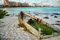 海景在坎昆,墨西哥 库存图片