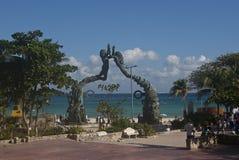 海景在海滨del卡门 图库摄影