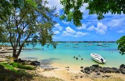 海景在盛大白鹅,毛里求斯 免版税库存图片