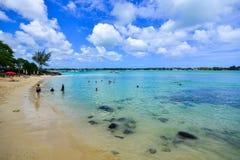 海景在盛大白鹅,毛里求斯 库存图片