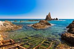 海景在阿尔梅里雅, Cabo de加塔角国家公园,西班牙 库存图片