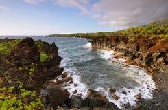 海景在Waianapanapa国家公园 免版税库存照片