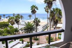 海景室阳台棕榈树 免版税库存图片