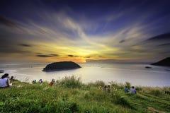 海景日落观点海洋普吉岛泰国 免版税库存照片