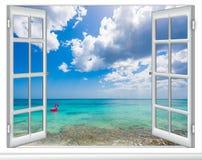 海景窗口加勒比多米尼加共和国 免版税图库摄影