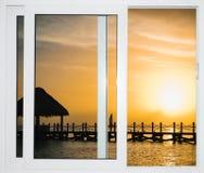 海景窗口加勒比多米尼加共和国 免版税库存照片