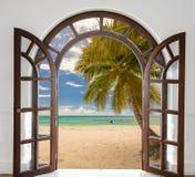 海景窗口加勒比多米尼加共和国 图库摄影