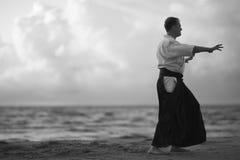 海景背景的一名武士 库存照片