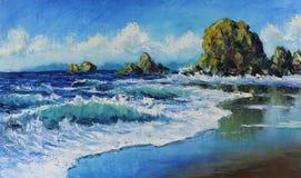 海景,波浪,岩石,云彩,油画 免版税库存图片