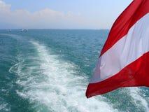 海景,湖的看法叫从游览小船的Bodensee到湖,有在前景的奥地利旗子的 免版税库存图片