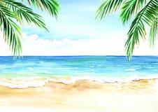 海景 与金黄沙子棕榈的夏天热带海滩分支 免版税库存图片
