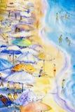 海景绘五颜六色夫妇家庭度假和旅游业 库存例证
