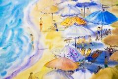 海景绘五颜六色夫妇家庭度假和旅游业 库存图片